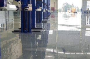 auto repair shop with the floor painted with epoxy
